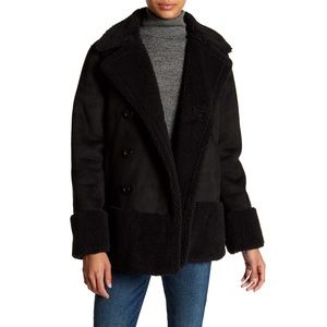 MOTHER • Faux Shearling & Faux Suede Jacket Black